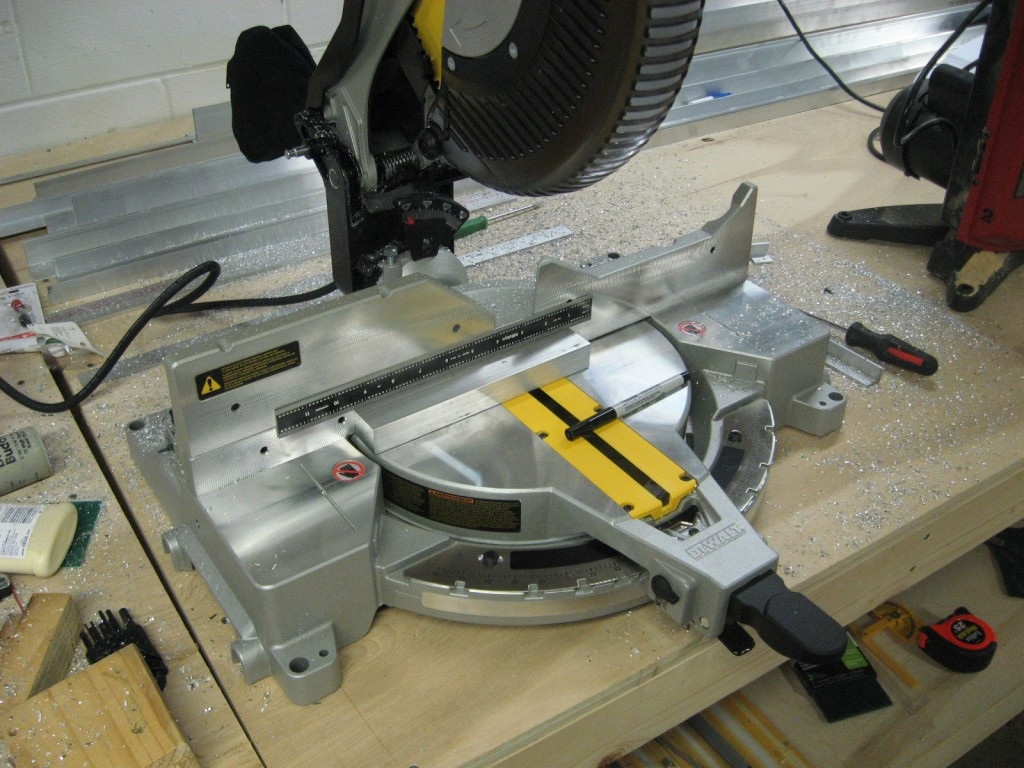 New miter saw with a block of aluminum