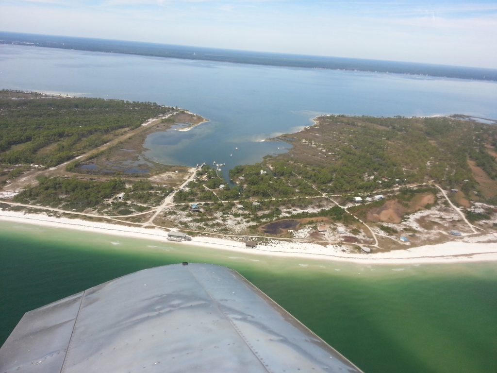 Picture of Dog Island with beach and runway visible